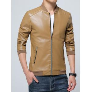 Pocket Zippered Faux Leather Jacket - KHAKI M