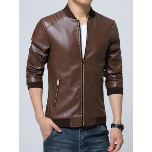 Pocket Zippered Faux Leather Jacket - COFFEE 3XL