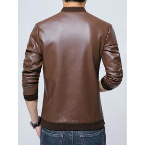 Pocket Zippered Faux Leather Jacket - COFFEE M