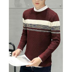 Crew Neck Texture Knitted Sweater - WINE RED L