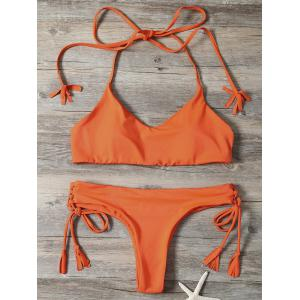 Lace-Up Tassels Halter Bralette Bikini Set
