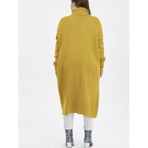Plus Size Turtleneck High Slit Midi Long Sweater - YELLOW 3XL