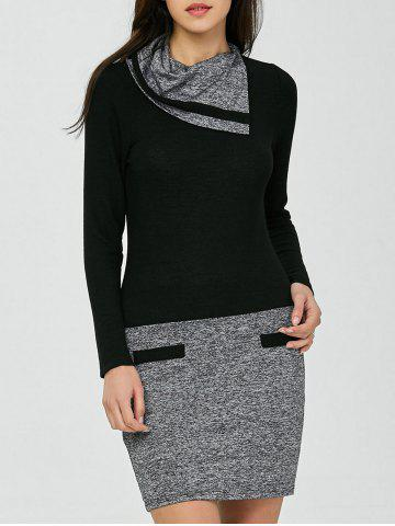 Discount Color Block Long Sleeve Sheath Work Fitted Dress - 3XL BLACK AND GREY Mobile