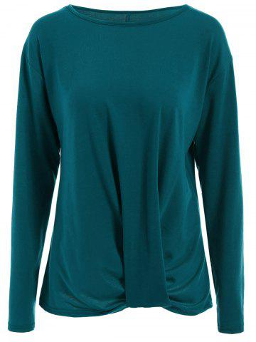 Chic Oversized Long Knotted Tee LAKE GREEN L