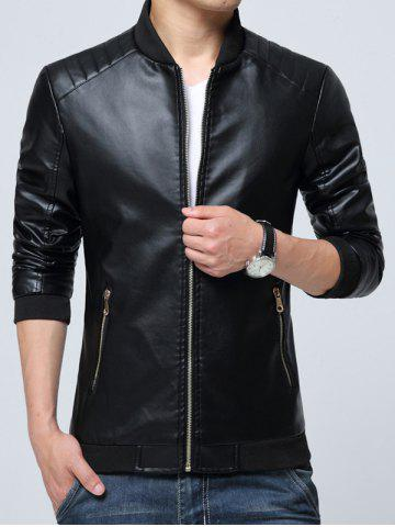 Outfits Pocket Zippered Faux Leather Jacket