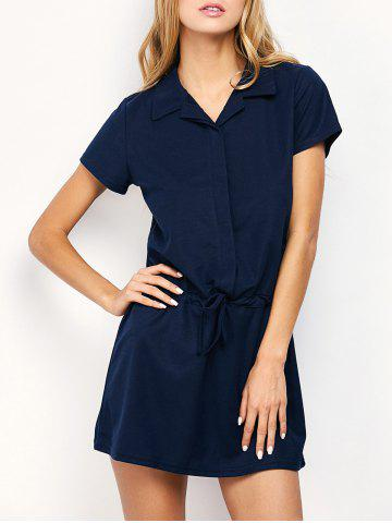 Drawstring Mini Casual Dress With Short Sleeve - Purplish Blue - M