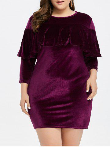 Buy Plus Size Velvet Mini Sheath Tight Dress PURPLISH RED 2XL