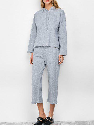 Affordable Hooded Top and Scrub Wide Leg Pants Twinset