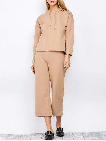 Chic Hooded Top and Scrub Wide Leg Pants Twinset APRICOT M