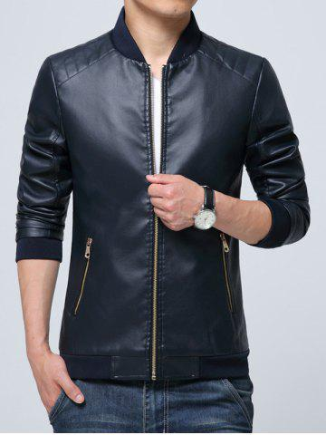 Outfit Pocket Zippered Faux Leather Jacket CADETBLUE L