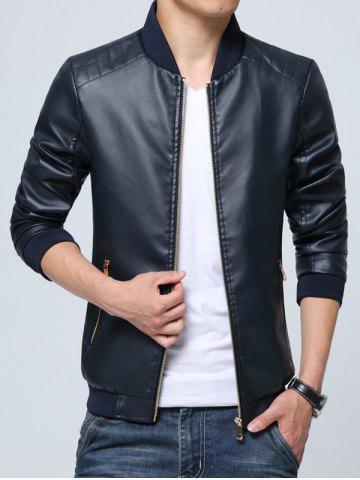 New Pocket Zippered Faux Leather Jacket - L CADETBLUE Mobile
