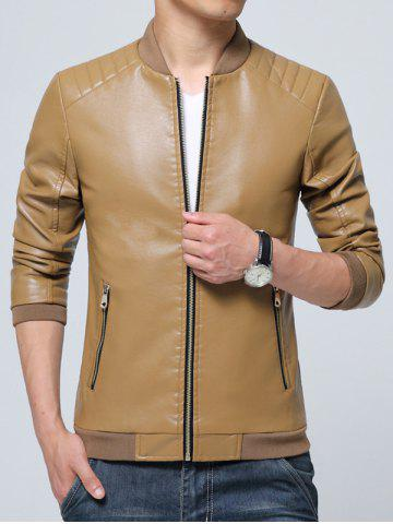 Latest Pocket Zippered Faux Leather Jacket KHAKI L