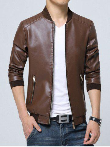 Shop Pocket Zippered Faux Leather Jacket - 3XL COFFEE Mobile