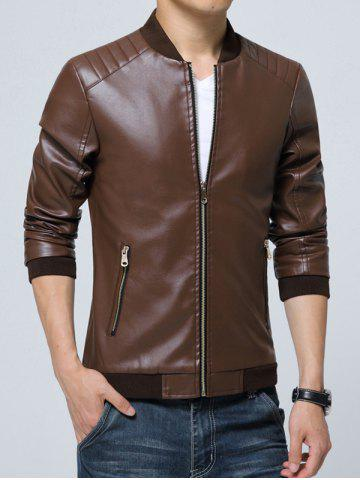 Unique Pocket Zippered Faux Leather Jacket - 3XL COFFEE Mobile