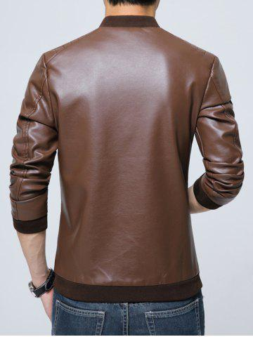 Online Pocket Zippered Faux Leather Jacket - 3XL COFFEE Mobile
