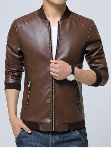 Discount Pocket Zippered Faux Leather Jacket COFFEE M