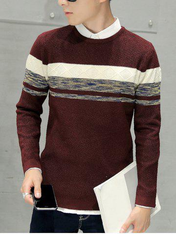 Fancy Crew Neck Texture Knitted Sweater