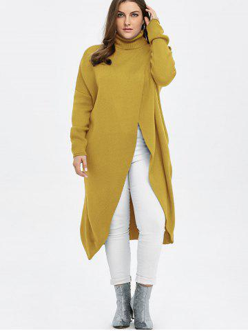 Outfits Plus Size Turtleneck High Slit Midi Long Sweater - YELLOW 3XL Mobile