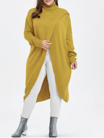 Online Plus Size Turtleneck High Slit Midi Long Sweater - YELLOW 3XL Mobile