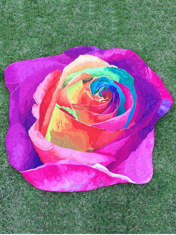 Affordable Multicolor Rose Design Beach Throw - ONE SIZE PURPLE Mobile