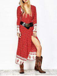 Wrap Printed Long Sleeve Maxi Dress