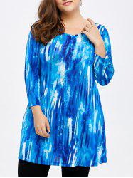 Plus Size Tie-Dye Long Sleeve Longline T-Shirt