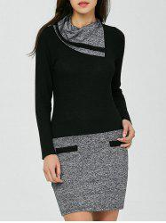 Funnel Neck Color Block Fitted Dress - BLACK AND GREY