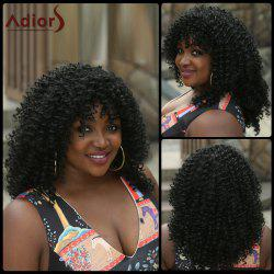 Fashion Shaggy Kinky Curly Synthetic Stunning Black Medium Capless Wig For Women - BLACK