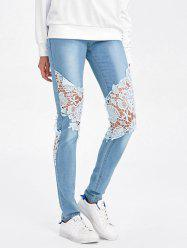 Lace Insert Ripped Skinny Jeans - DENIM BLUE M