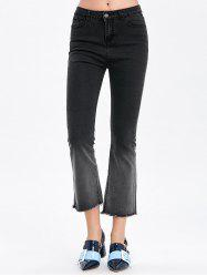 Frayed Hem Ombre Boot Cut Jeans -