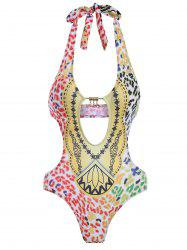 Printed Hollow Out Halter Swimwear