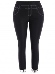 Plus Size Skinny Graphic Hem Pencil Pants - BLACK