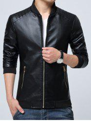 Pocket Zippered Faux Leather Jacket - BLACK 4XL