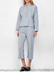 Hooded Top and Scrub Wide Leg Pants Twinset