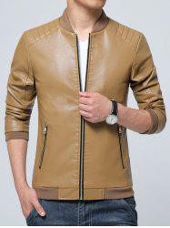 Pocket Zippered Faux Leather Jacket