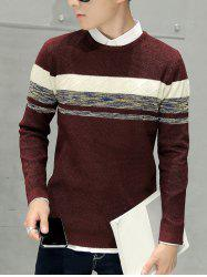 Crew Neck Texture Knitted Sweater -