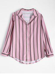 Plus Size Notched Stripe Chiffon Shirt