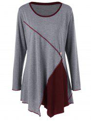 Plus Size Two Tone Asymmetric Tunic T-Shirt