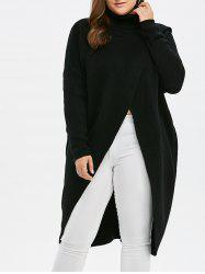 Plus Size Turtleneck High Slit Midi Sweater - BLACK