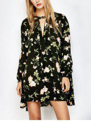 Floral Print Long Sleeve Swing Dress