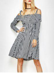 Long Sleeve Slip Plaid Ruffle Dress