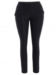 Plus Size Skinny Pencil Pants - BLACK