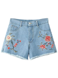 Floral Embroidered Denim Shorts