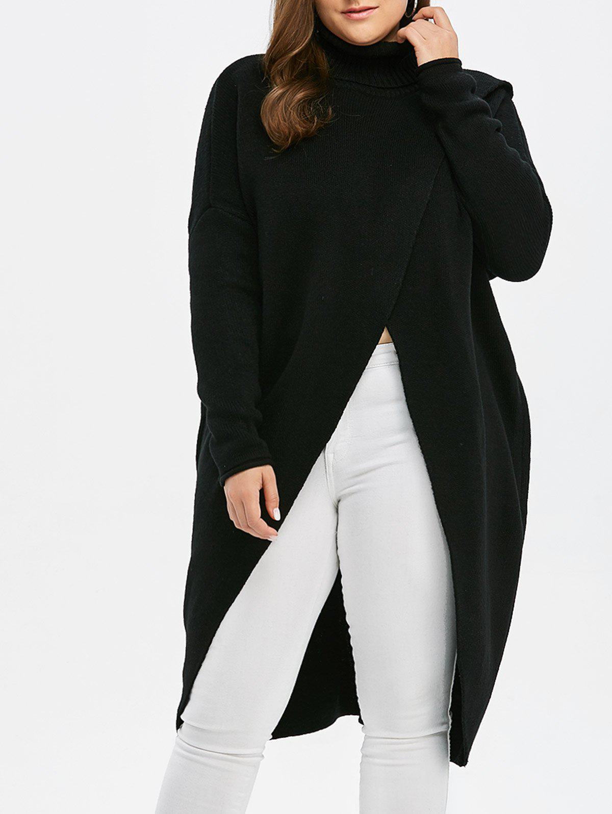 Plus Size Turtleneck High Slit Midi Long SweaterWOMEN<br><br>Size: 2XL; Color: BLACK; Type: Pullovers; Material: Acrylic,Polyester; Sleeve Length: Full; Collar: Turtleneck; Style: Fashion; Season: Fall,Spring; Pattern Type: Solid; Weight: 0.550kg; Package Contents: 1 x Sweater;