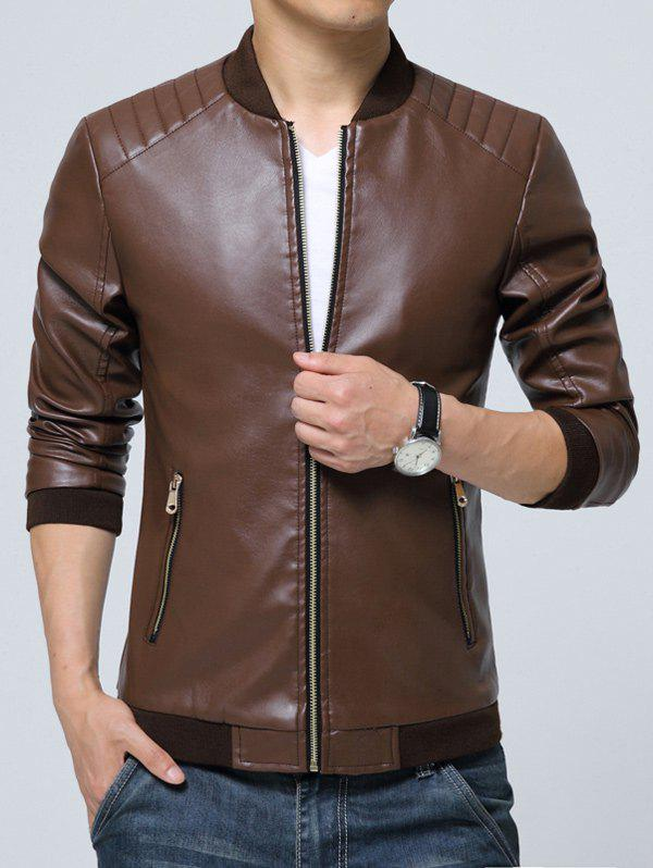 Poche zippée Faux Leather Jacket Café 3XL