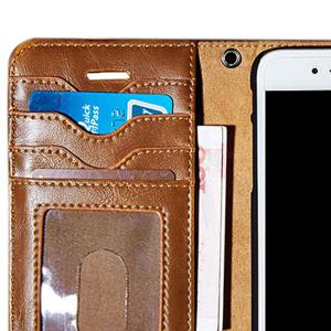 Faux Leather Flip Wallet Case with Card Slot For iPhone - BROWN FOR IPHONE 7