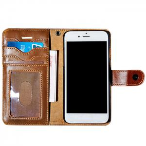 Faux Leather Flip Wallet Case with Card Slot For iPhone - Brown - For Iphone 7