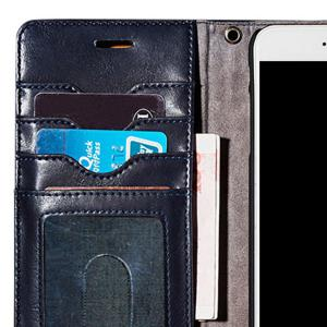 Faux Leather Flip Wallet Case with Card Slot For iPhone - DEEP BLUE FOR IPHONE 7 PLUS
