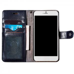 Faux Leather Flip Wallet Case with Card Slot For iPhone - Deep Blue - For Iphone 7