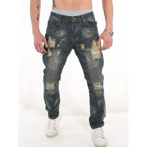 Zipper Fly Rib Panel Ripped Jeans